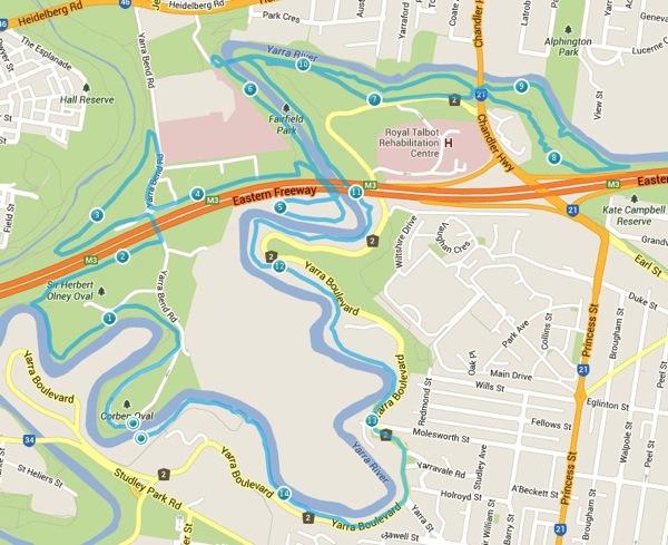 Salomon trail run  1 Studley Park map