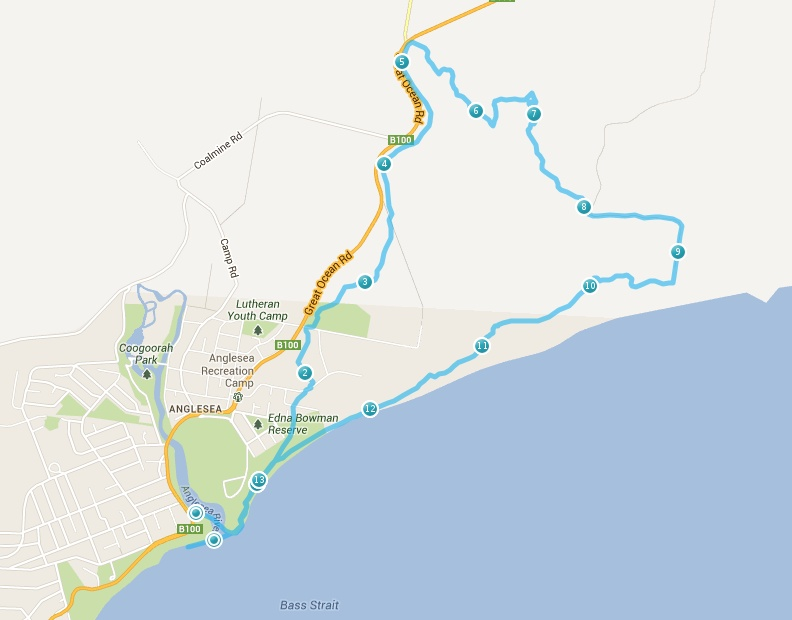 Anglesea course map